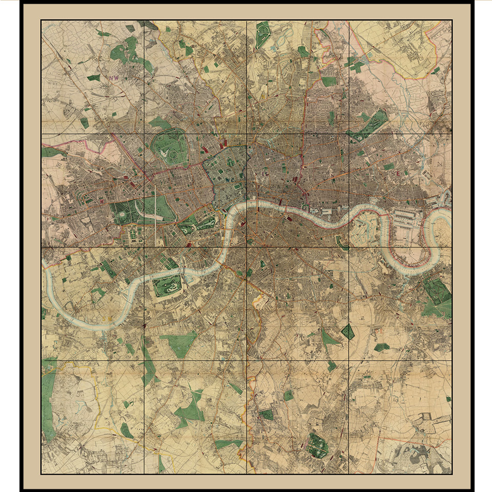 Map Of London And Surrounding Suburbs.Extensive Collection Of Old London Maps
