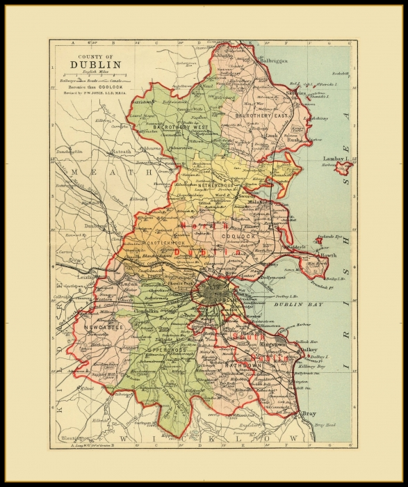 Map Of Dublin Ireland And Surrounding Area.Antique County Maps Ireland