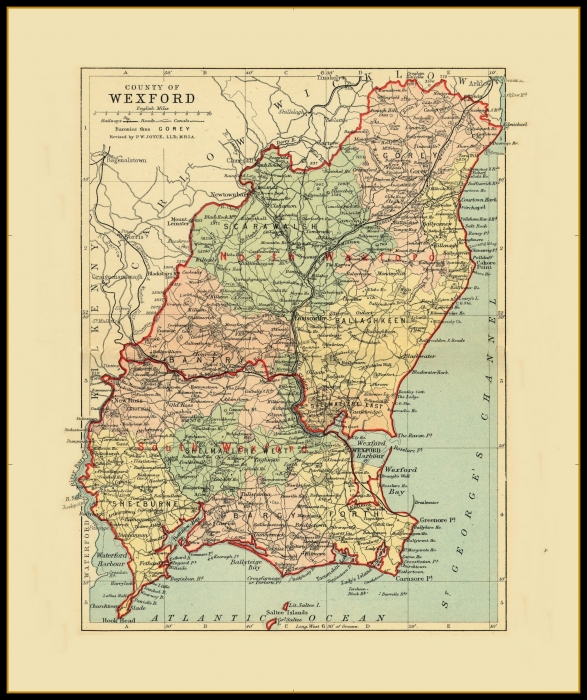 Map Of Wexford County Ireland.Antique County Maps Ireland