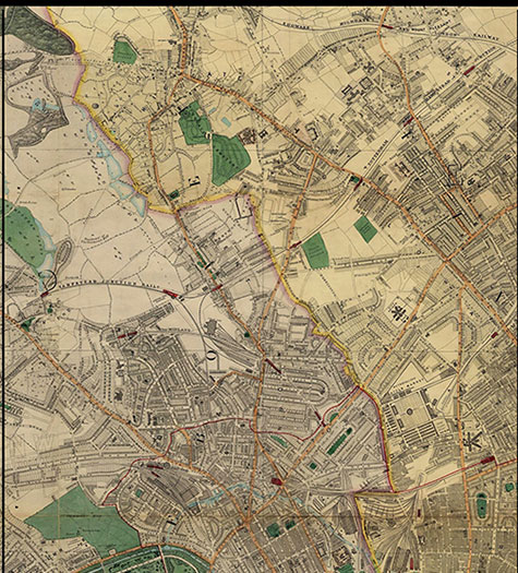 Old map of London, originally published in 1878 by Edward Stanford, republished in 2018. A map of Victorian London,Highgate, Hamsptead Ponds, Stroud Green, Kentish Town, Primrose Hill, and part of Islington, are clearly illustrated.