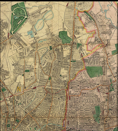 Old map of London, originally published in 1878 by Edward Stanford, republished in 2018. A map of Victorian London, New River Reservoirs, Upper Clapton, Stoke Newington, Highbury, Islington, Kingsland, Dalston, and Hackney, are clearly illustrated.