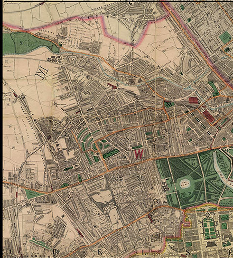 Old map of London, originally published in 1878 by Edward Stanford, republished in 2018. A map of Victorian London,Kensal Green, Kilburn, Paddington, Kensington, Hammersmith, Notting Hill, Bayswater, and Cromwell Hill, are clearly illustrated.