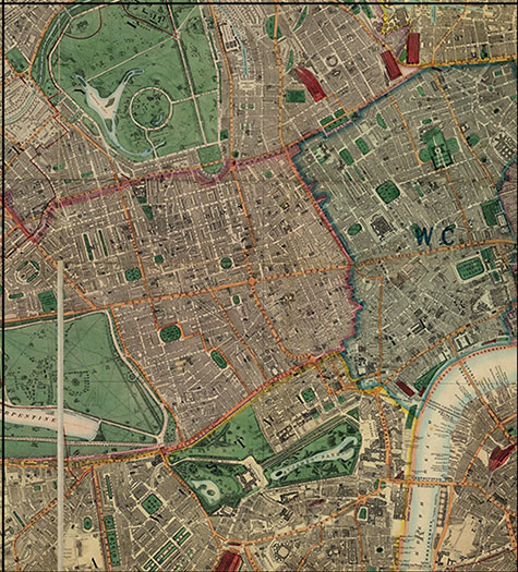 Old map of London, originally published in 1878 by Edward Stanford, republished in 2018. A map of Victorian London,Regents Park, Hyde Park, Marylebone, Knightsbridge, Mayfair, Westminster, Brompton, Lambeth, Somers Town, Soho, and Bloomsbury, are clearly illustrated.