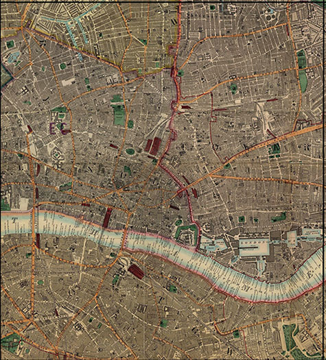 Old map of London, originally published in 1878 by Edward Stanford, republished in 2018. A map of Victorian London,Hoxton, Clerkenwell, Bethnal Green, Spital Fields, Whitechapel, and London Docks, are clearly illustrated.