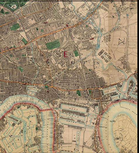 Old map of London, originally published in 1878 by Edward Stanford, republished in 2018. A map of Victorian London,Bow, Mile End, Bromley, Canning Town, Ratcliff, Poplar, East & West India Docks, and Rotherhithe, are all clearly illustrated.