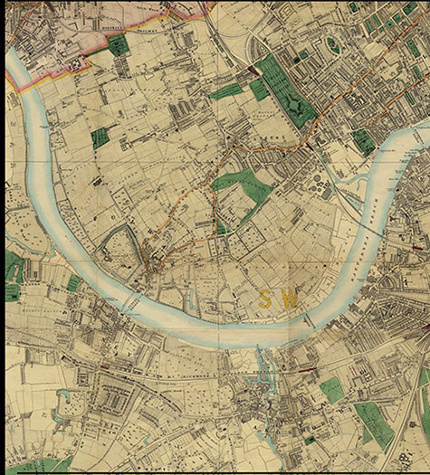 Old map of London, originally published in 1878 by Edward Stanford, republished in 2018. A map of Victorian London,Brompton, Chelsea, Walham Green, Parson's Green, Fulham, Battersea, Putney, and Wandsworth, are clearly illustrated.