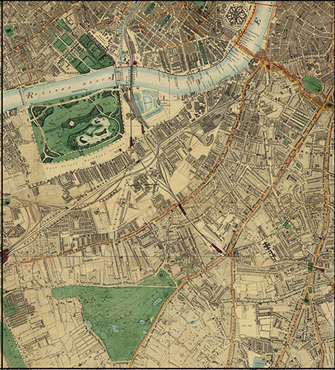 Old map of London, originally published in 1878 by Edward Stanford, republished in 2018. A map of Victorian London,Chelsea, Pimlico, Battesea, Clapham, Kennington, South Lambeth, and Stockwell, are clearly illustrated.