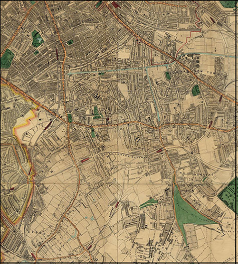 Old map of London, originally published in 1878 by Edward Stanford, republished in 2018. A map of Victorian London,Wandsworth, Peckham, Camberwell, Hoxton, Nunhead, East Dulwich, and Herne Hill, are clearly illustrated.