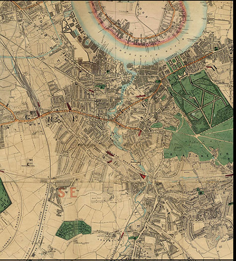 Old map of London, originally published in 1878 by Edward Stanford, republished in 2018. A map of Victorian London,Deptford, Greenwich, New Cross, Black Heath, and Lewisham, are clearly illustrated.