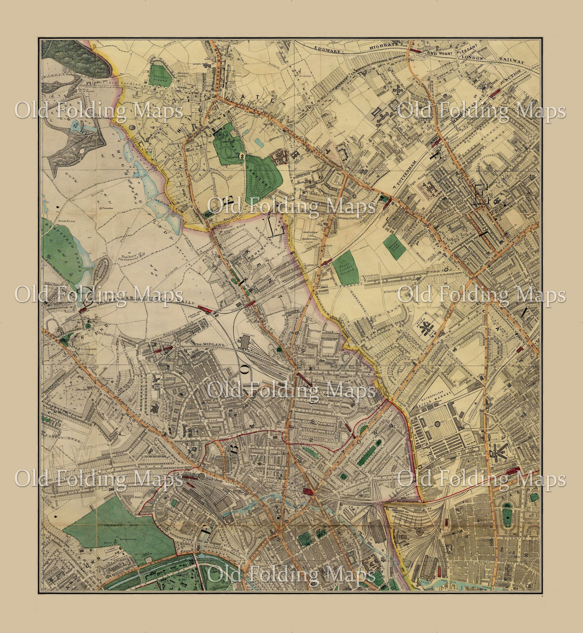 Map Of London And Surrounding Suburbs.Edward Stanford S Library Map Of Modern London And It S Suburbs