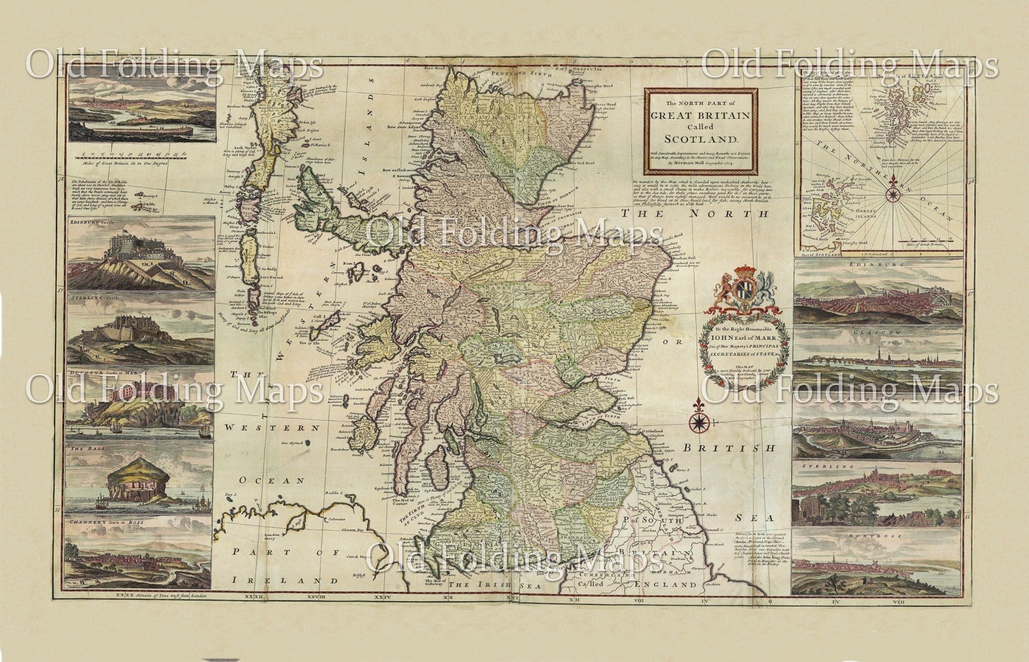 Old Map of Scotland circa 1714