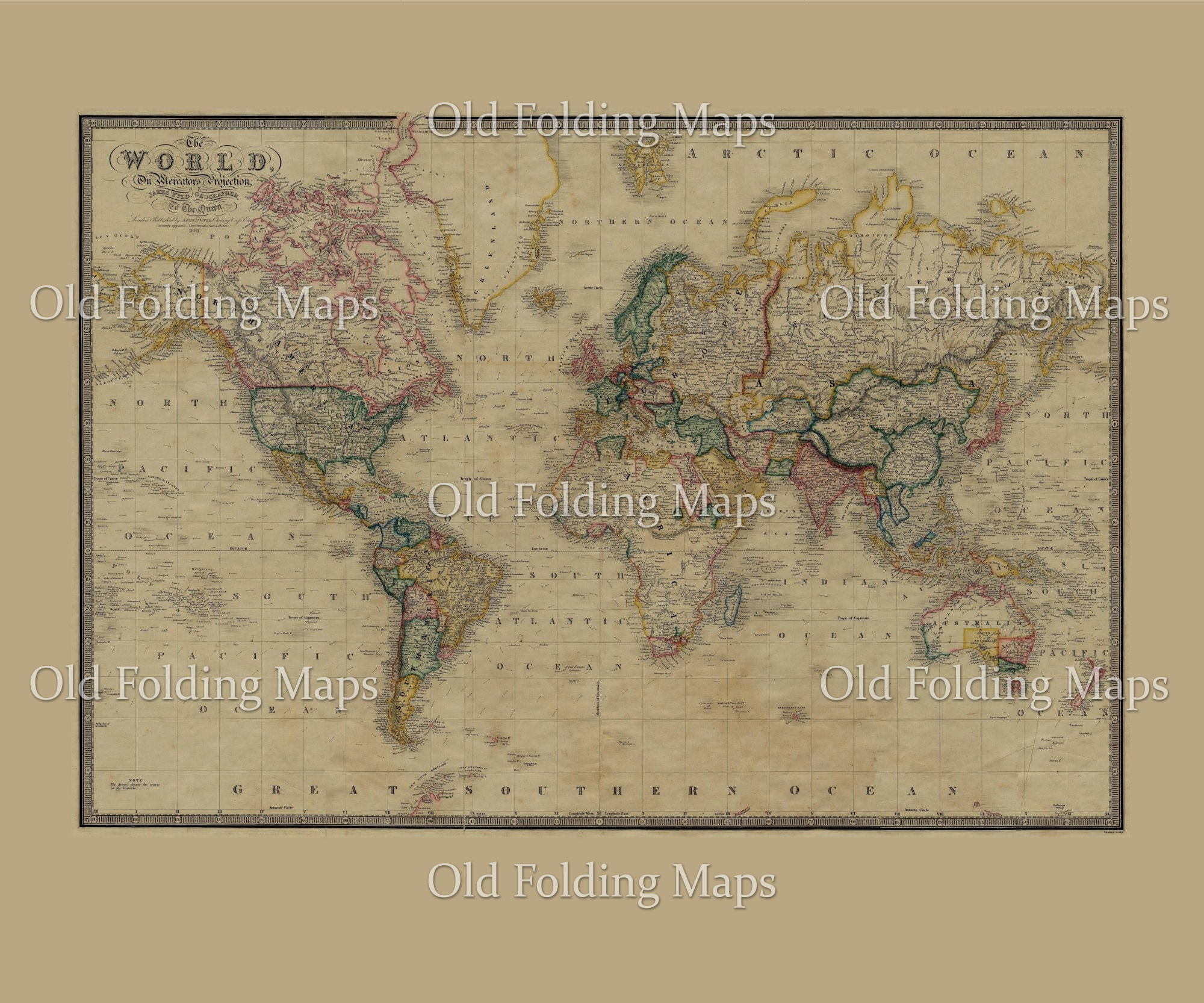Old Map of the World circa 1861