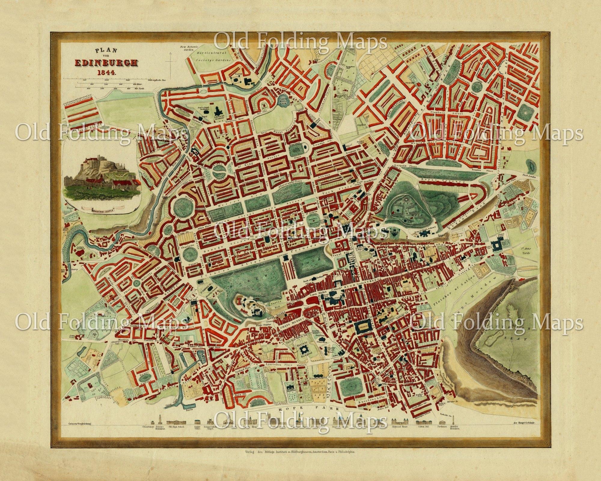 Old Map of the city of Edinburgh, Scotland circa 1872