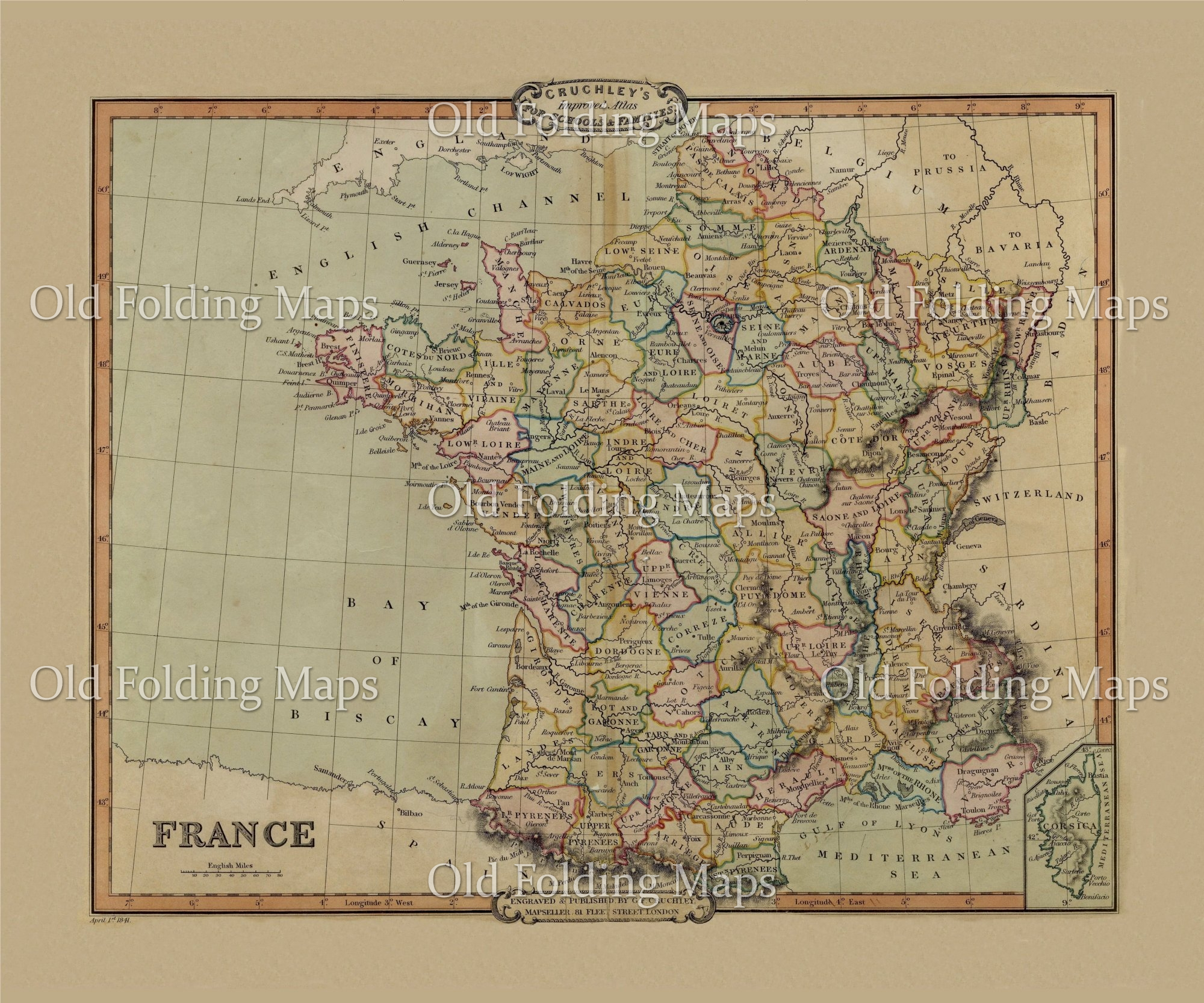 Old Map Of France.Old Map Of France Circa 1840