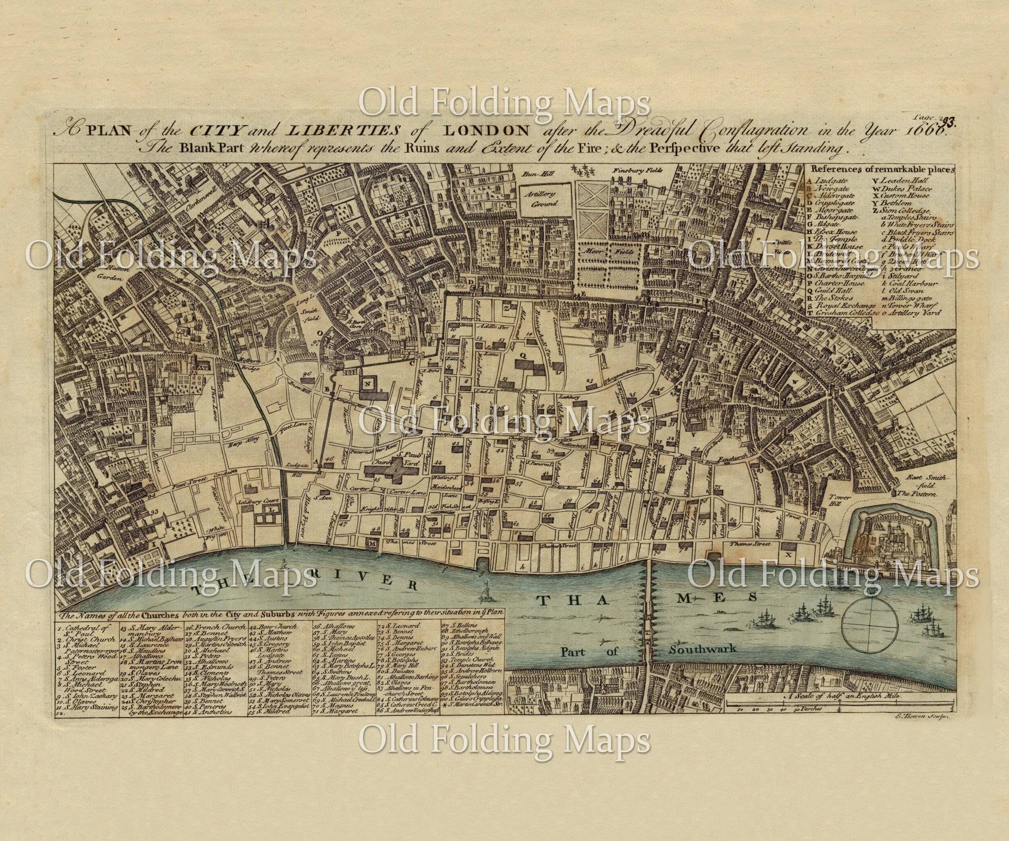 Map Of City Of London Uk.Old London Map Of The Fire Of London Circa 1740