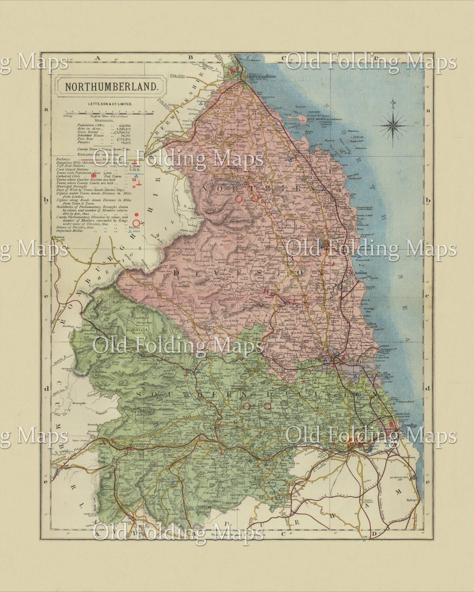 antique county map of northumberland circa 1884