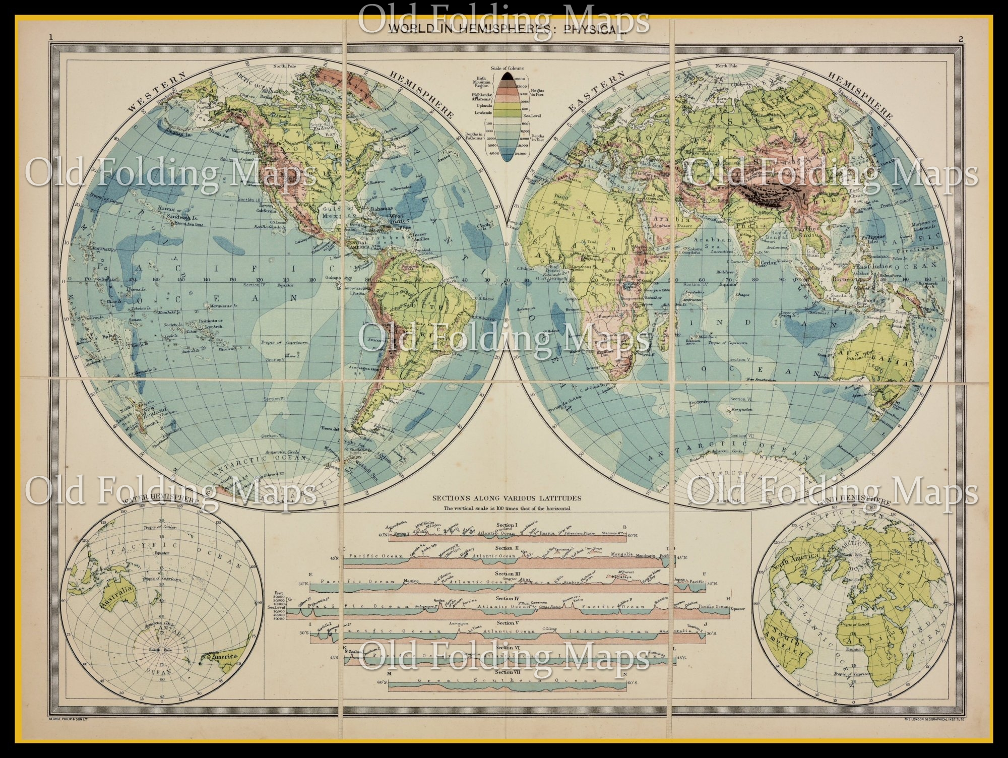 Old Map of The World in Hemispheres circa 1900