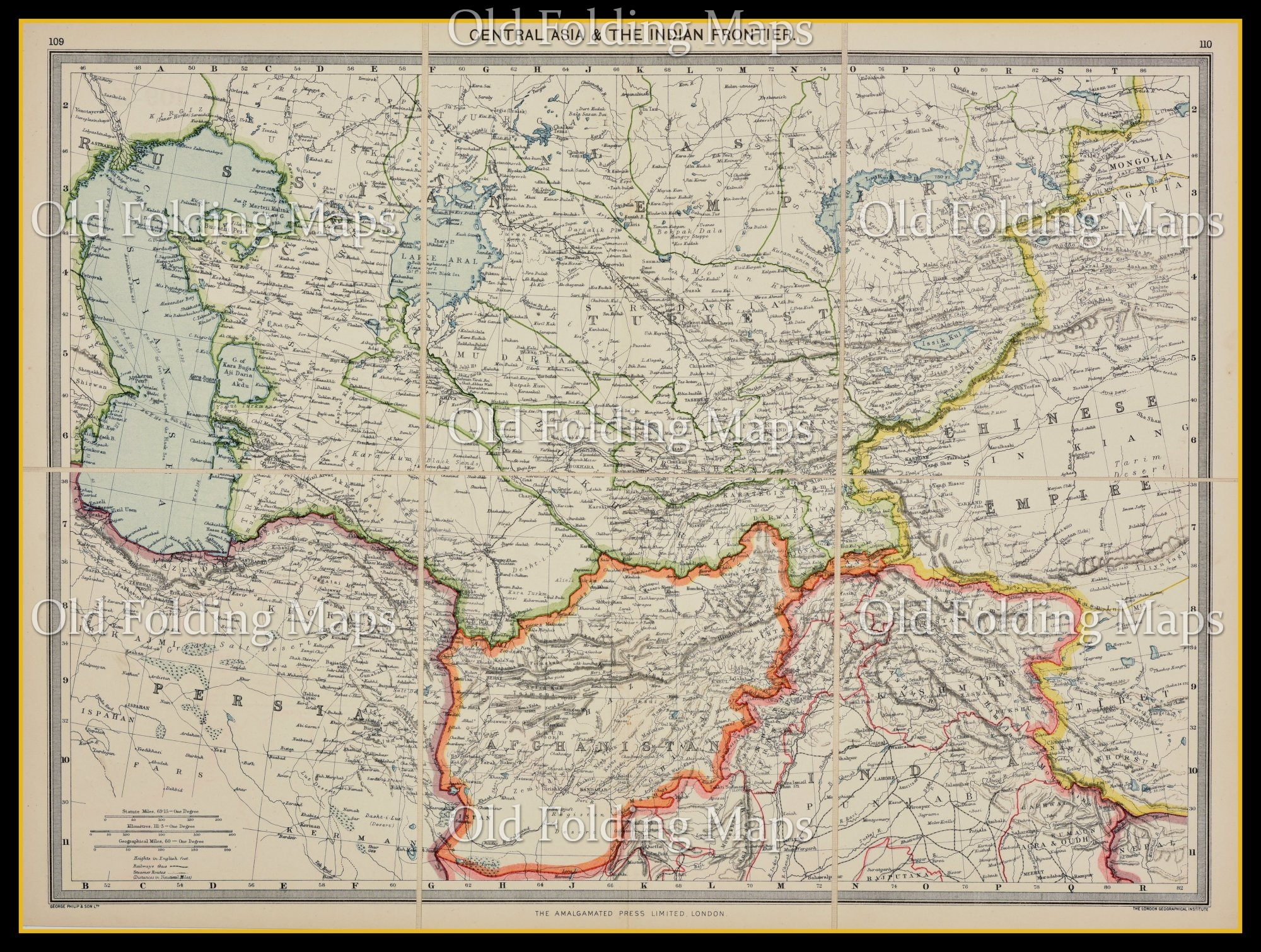Old Map of Central Asia & The Indian Frontier circa 1900