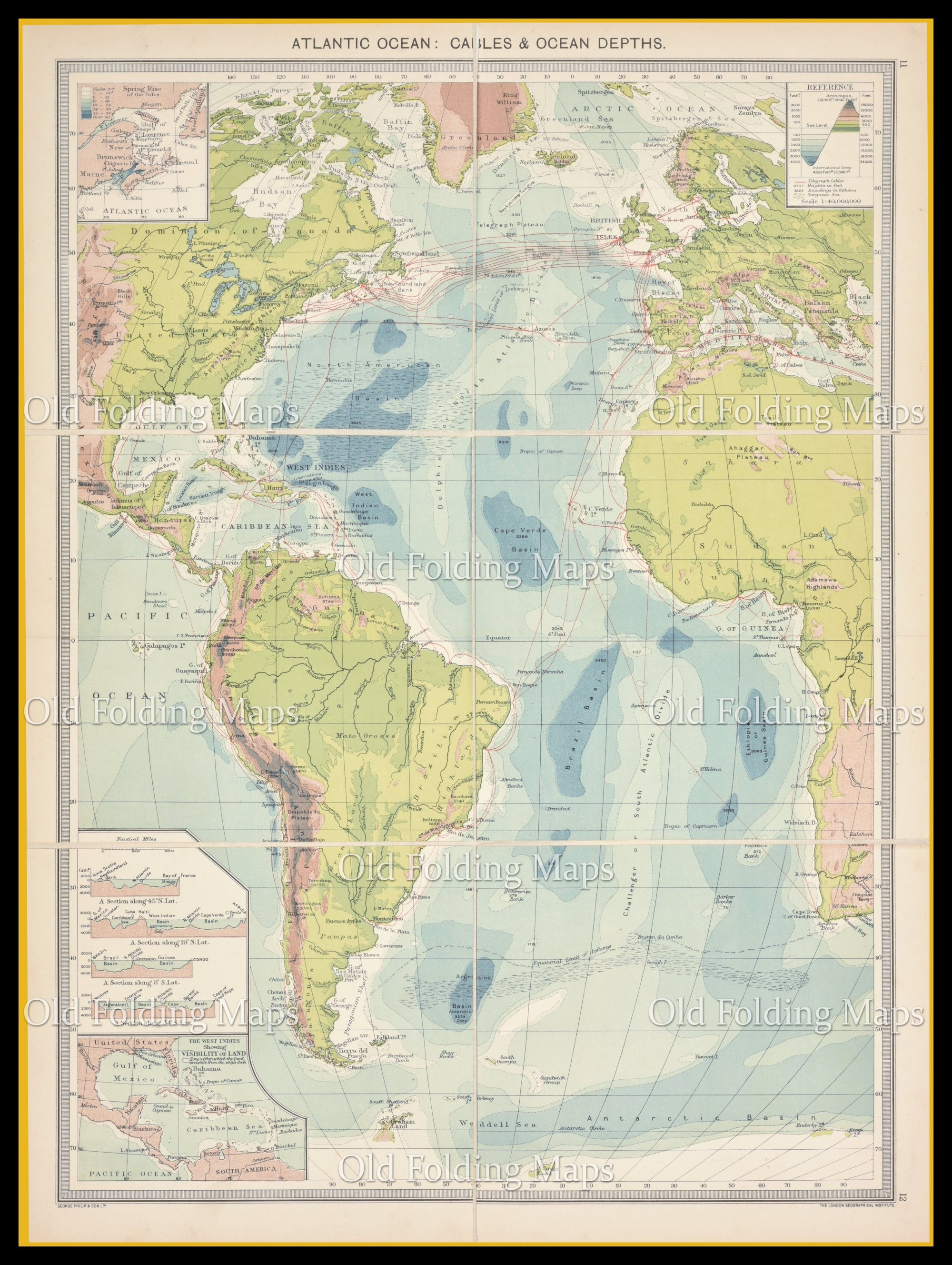 Old Map of The Atlantic Ocean. Cables & Depths circa 1900
