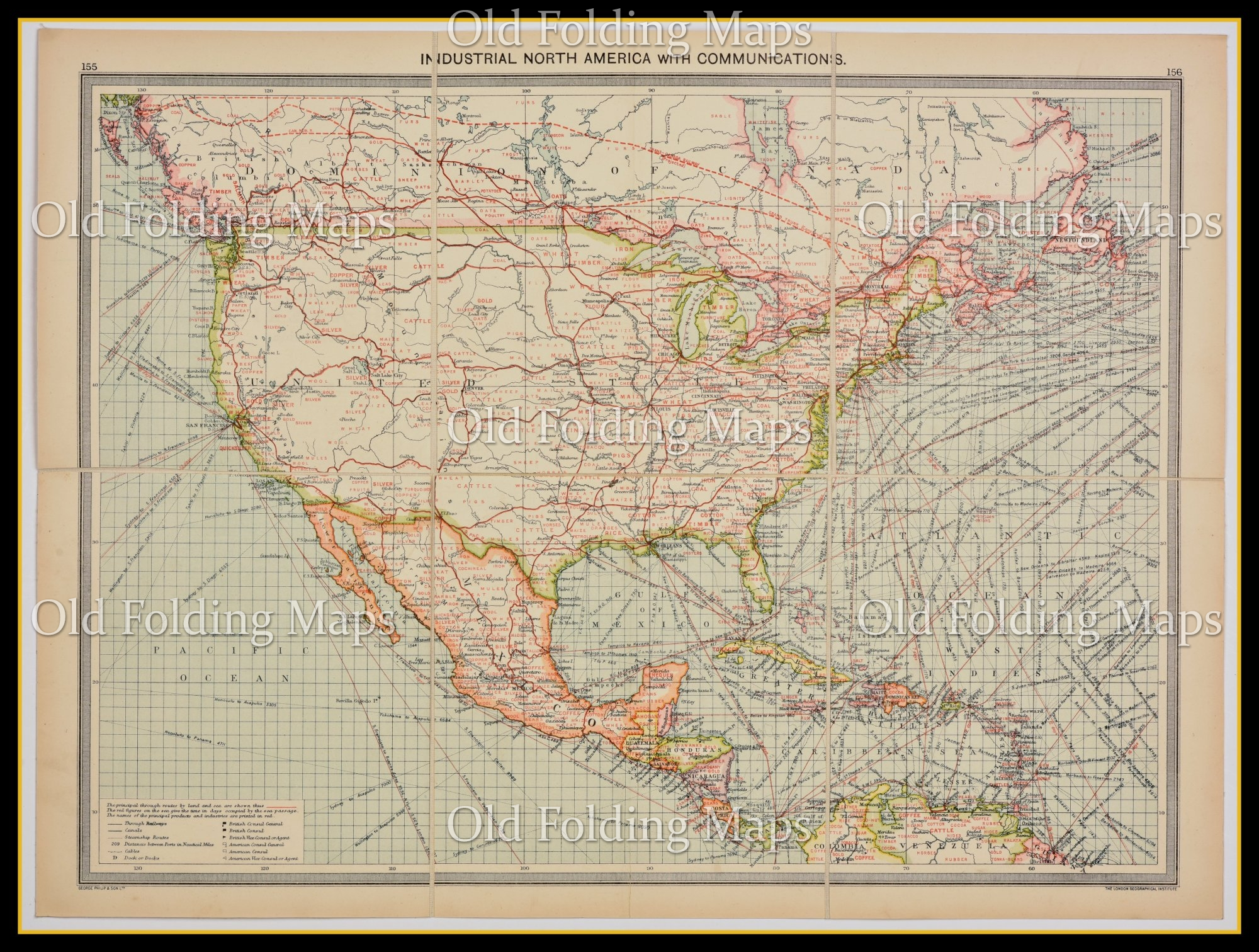 Old Map Of North America Industries Communications Circa 1900