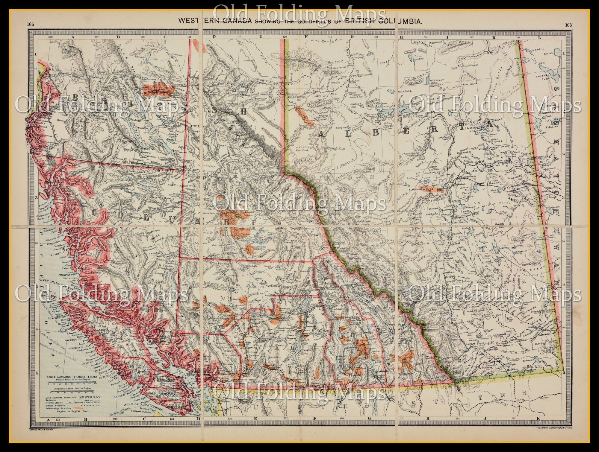 Map Of Canada 1900.Old Map Of Western Canada Showing Gold Fields Circa 1900