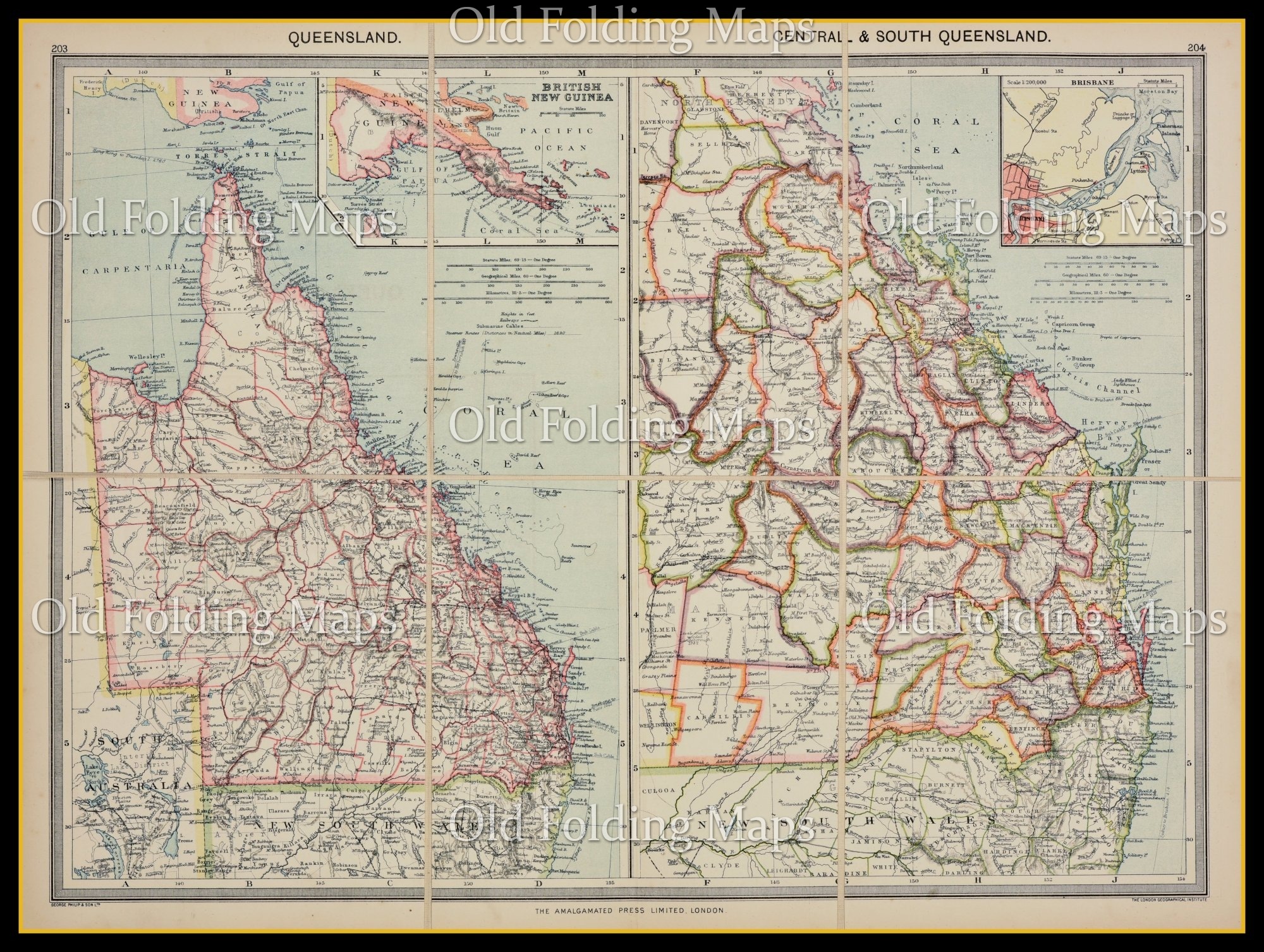 Old Map of Queensland, Australia circa 1900