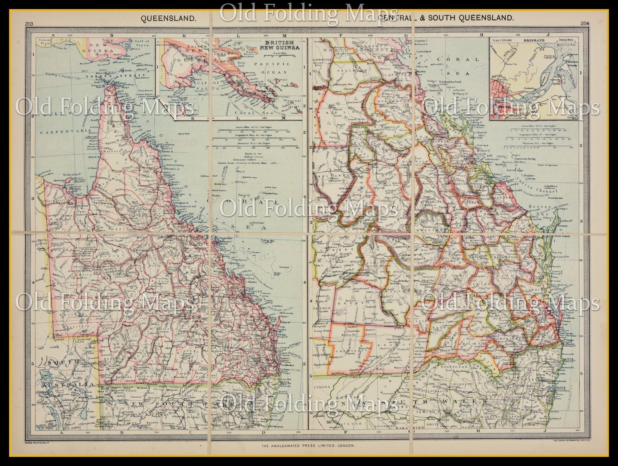 Queensland Australia Map.Old Map Of Queensland Australia Circa 1900