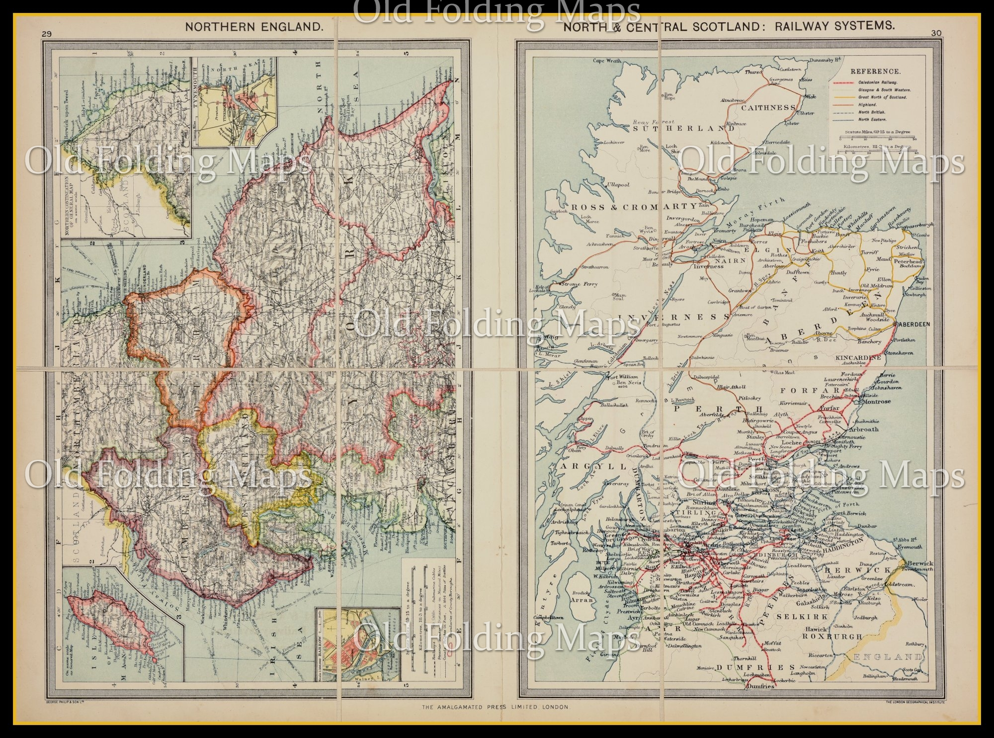 Old Map of The North of England and South Scotland Railway Systems