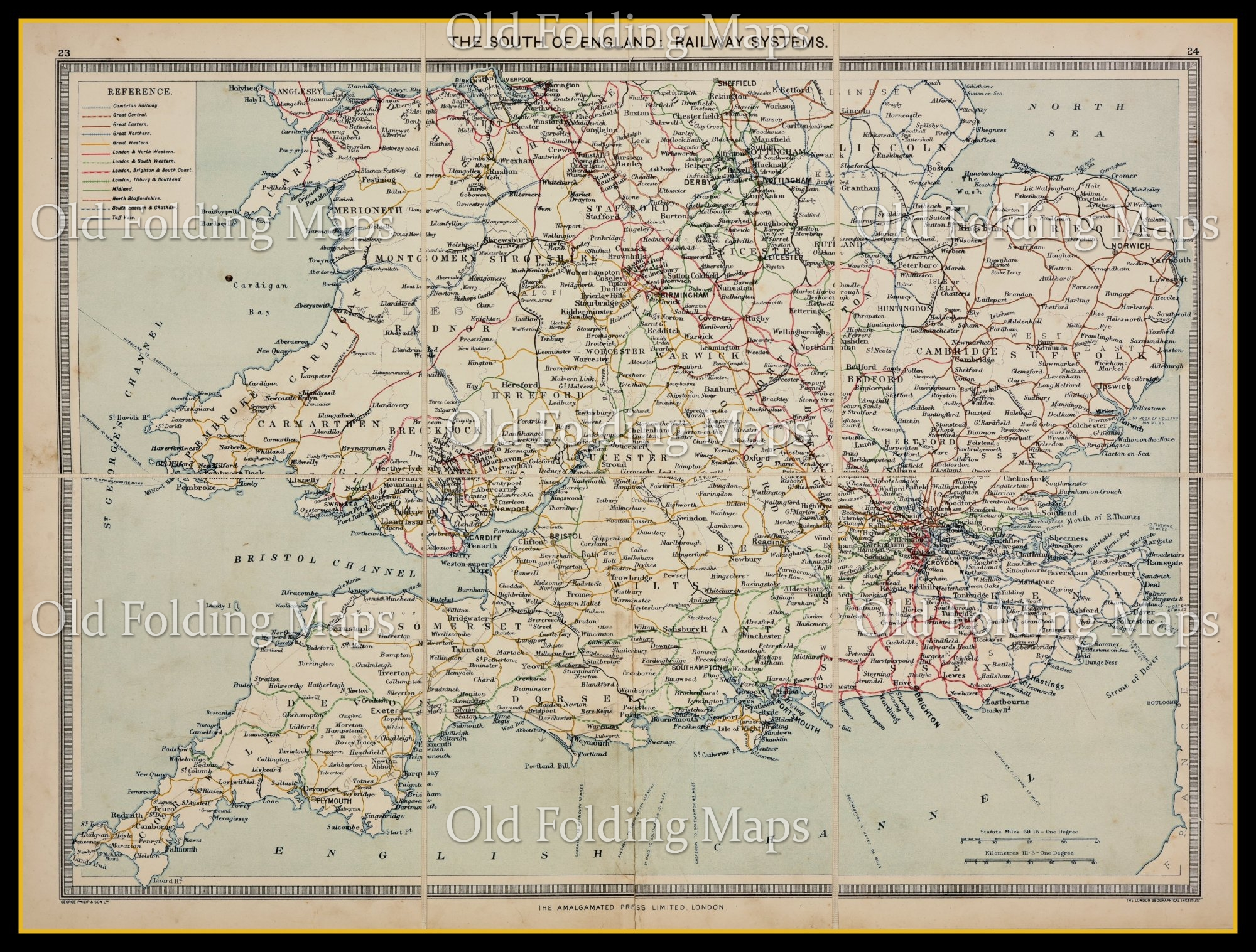 Old Map of South of England Railway Systems circa 1900