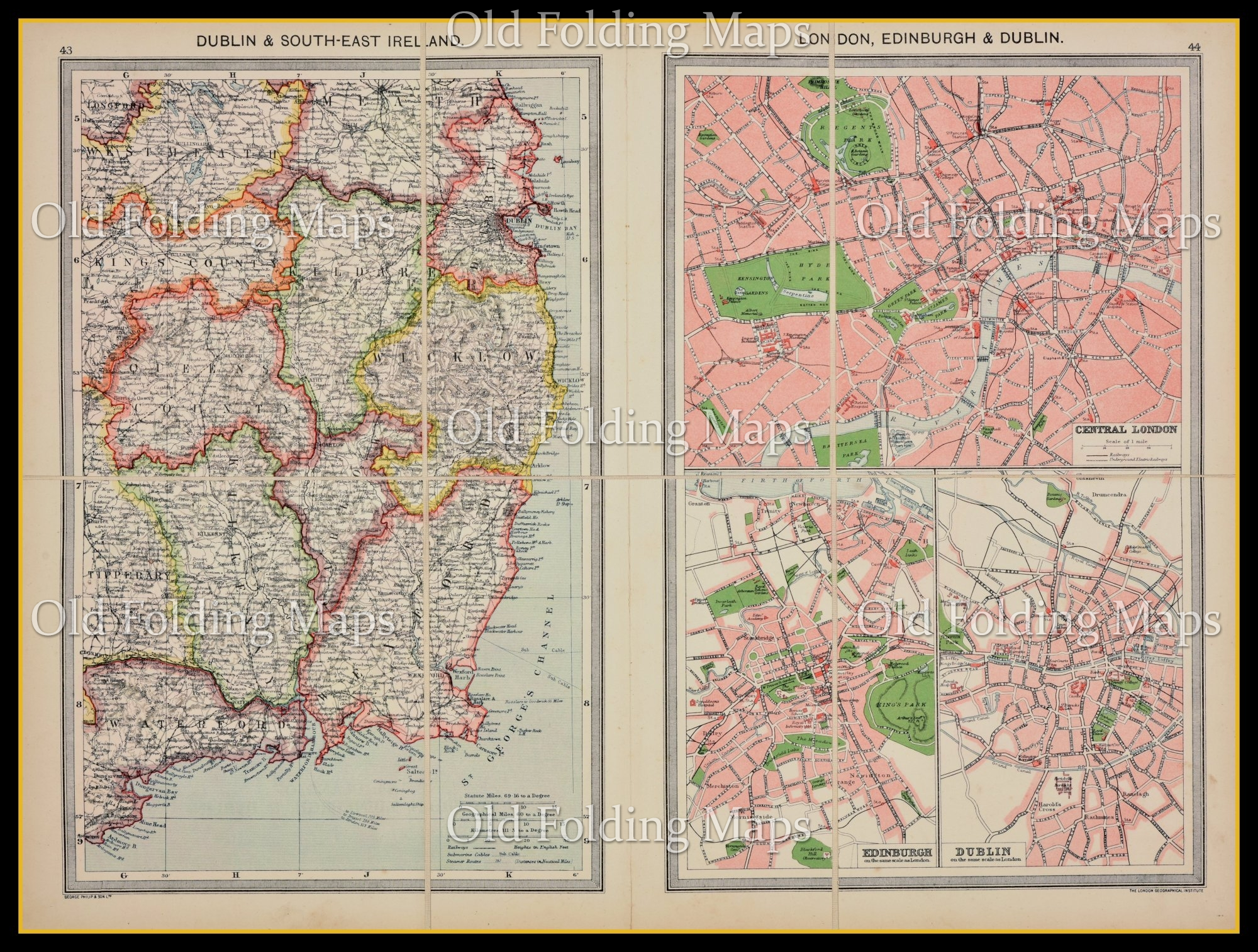Map Of Dublin 6 Ireland.Old Map Of Dublin And South East Ireland Circa 1900