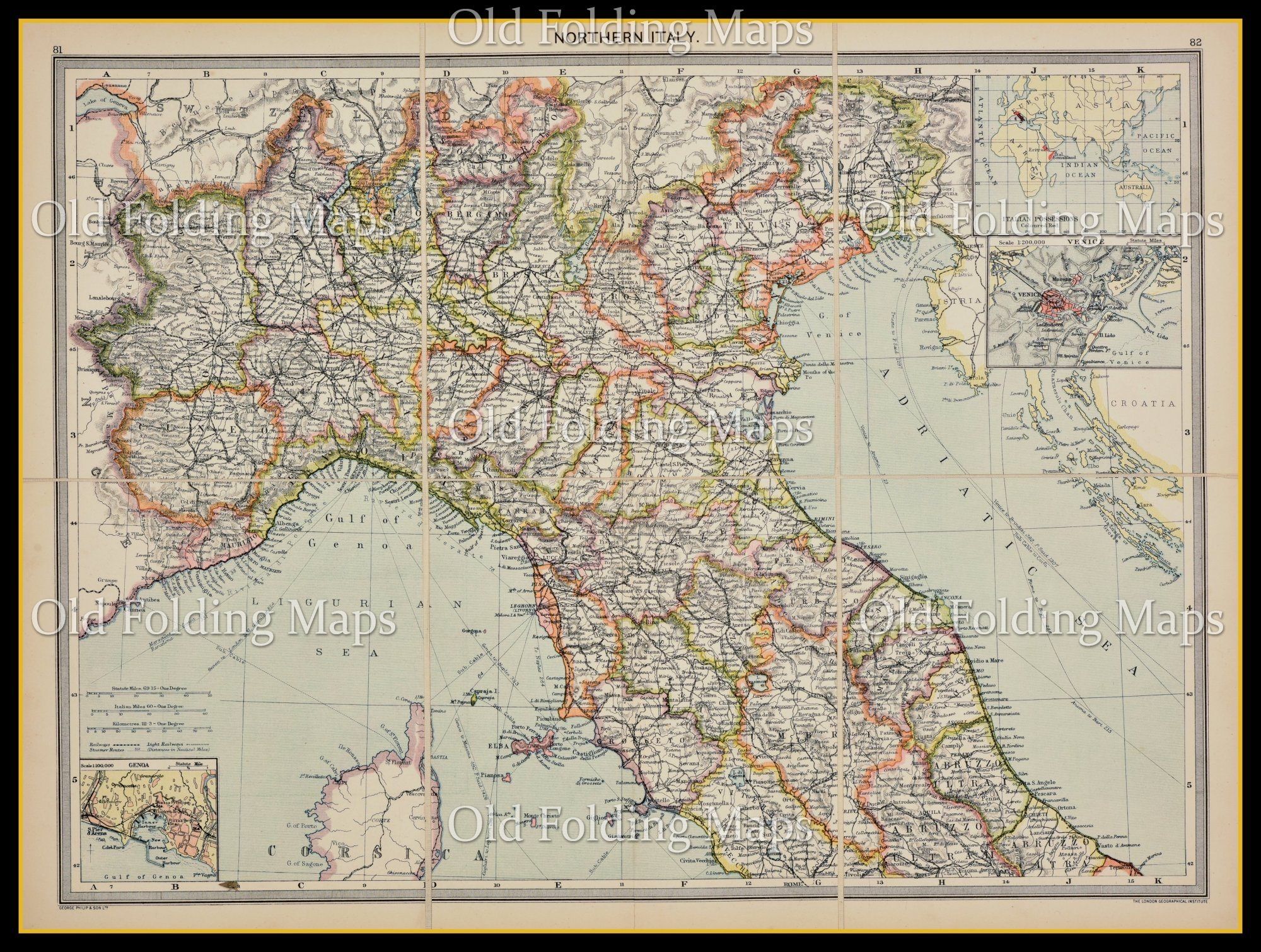 Old Map of Northern Italy circa 1900
