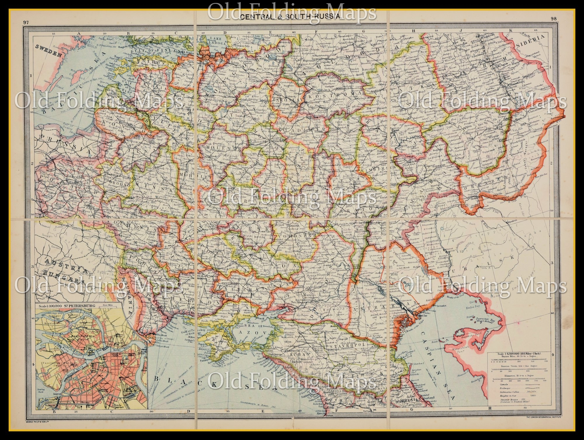 An Antique Map Of Central And South Russia Circa 1900