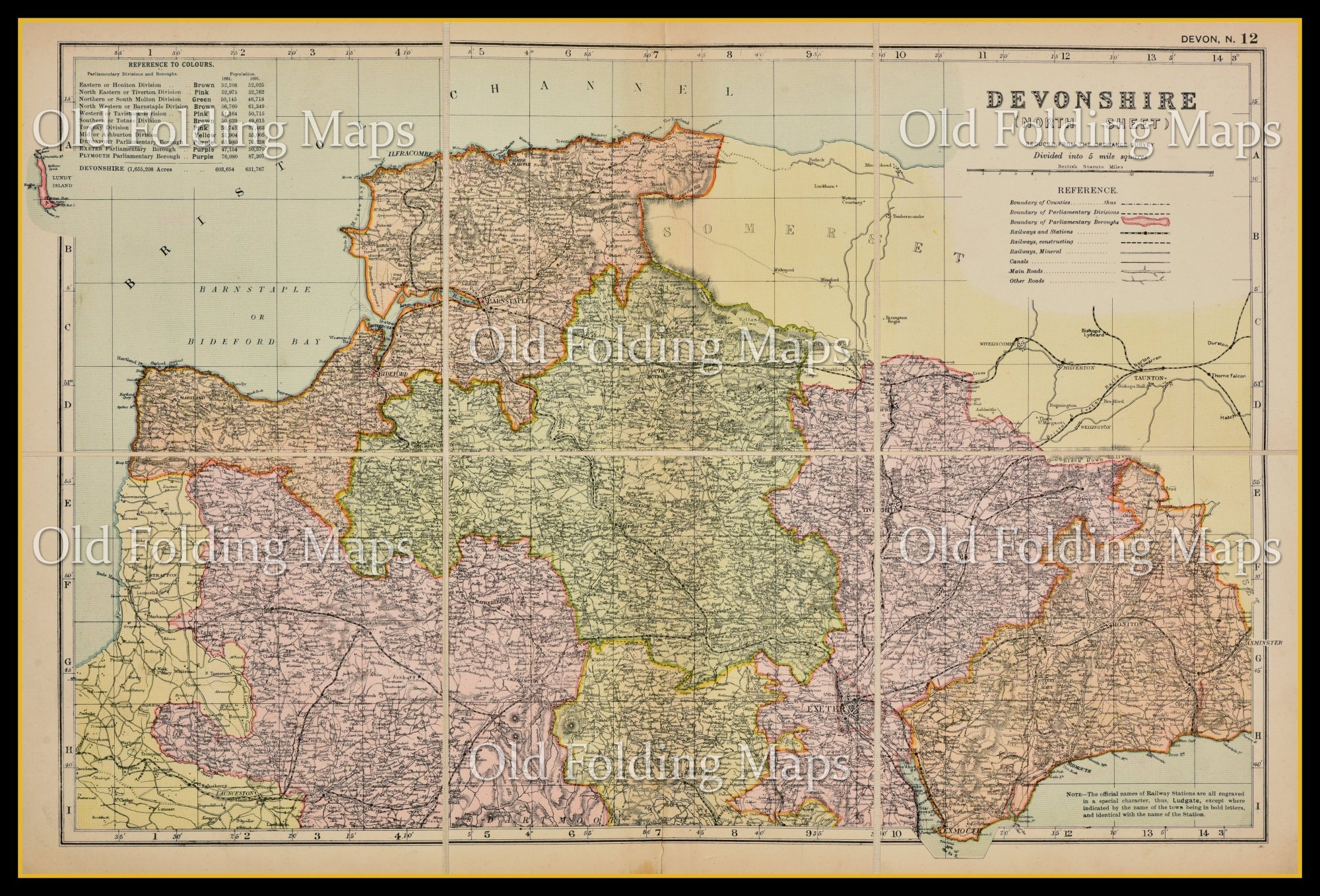 An Antique Map of Devonshire North