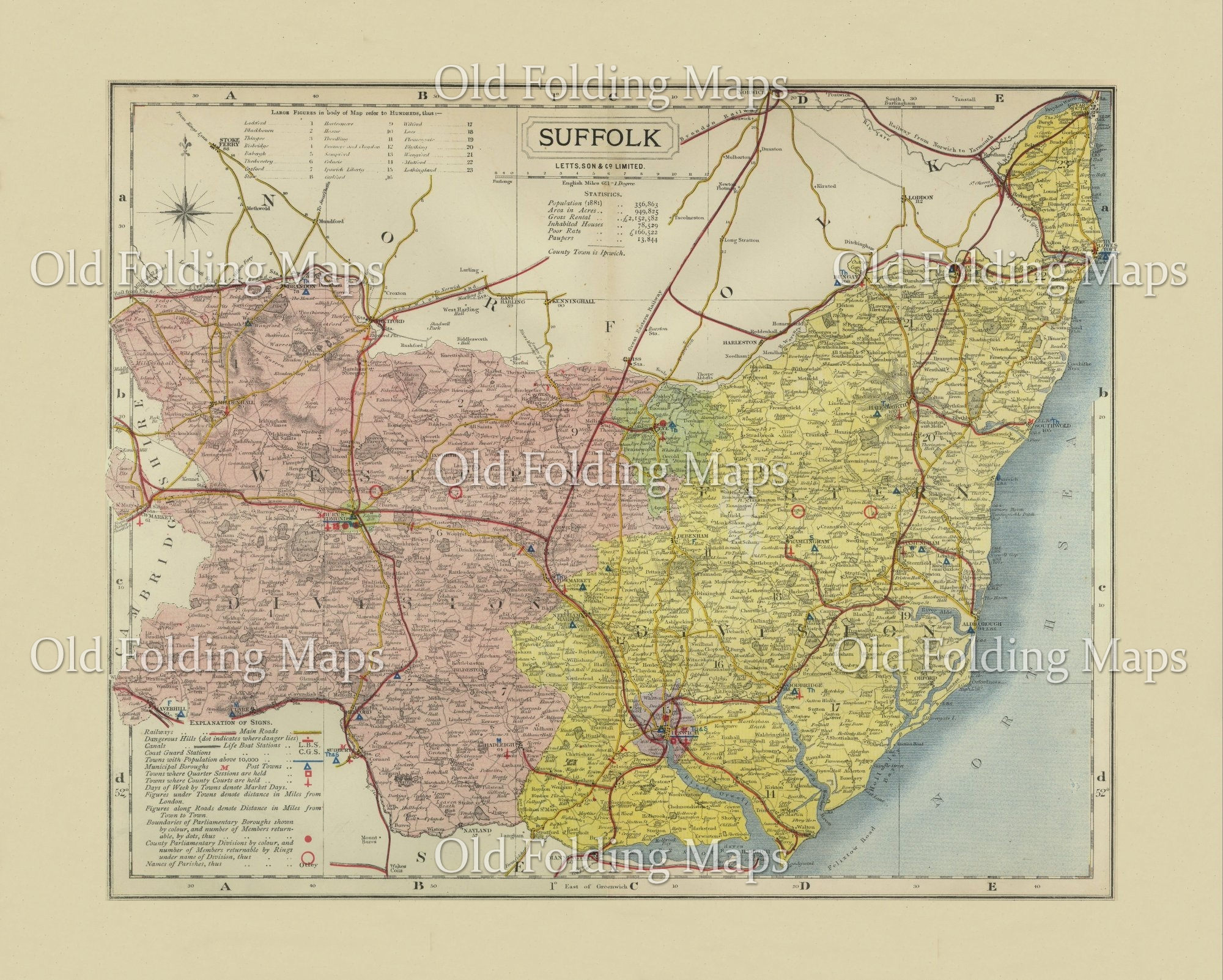 Antique County Map of Suffolk circa 1884