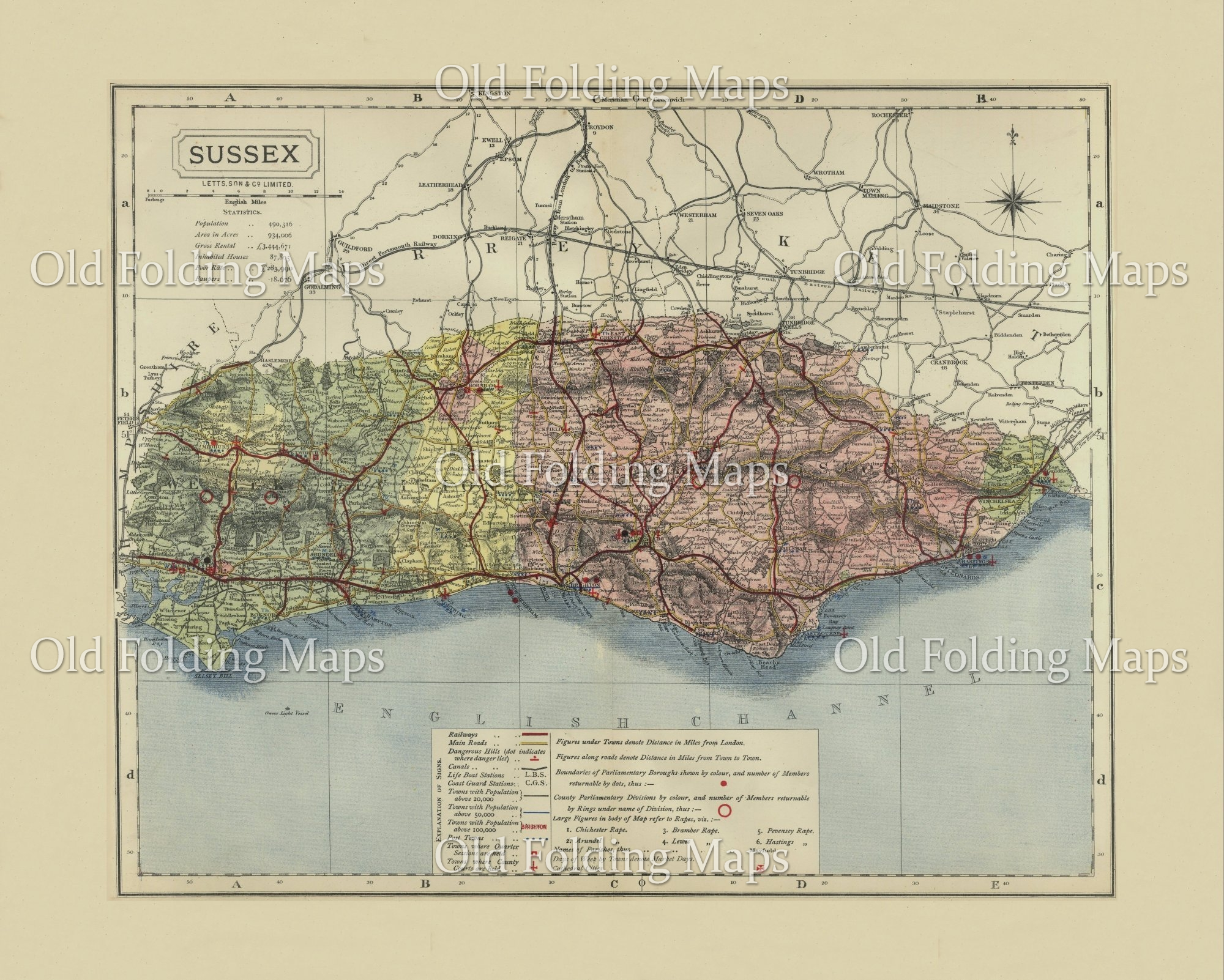 Antique County Map Of Sussex Circa 1884