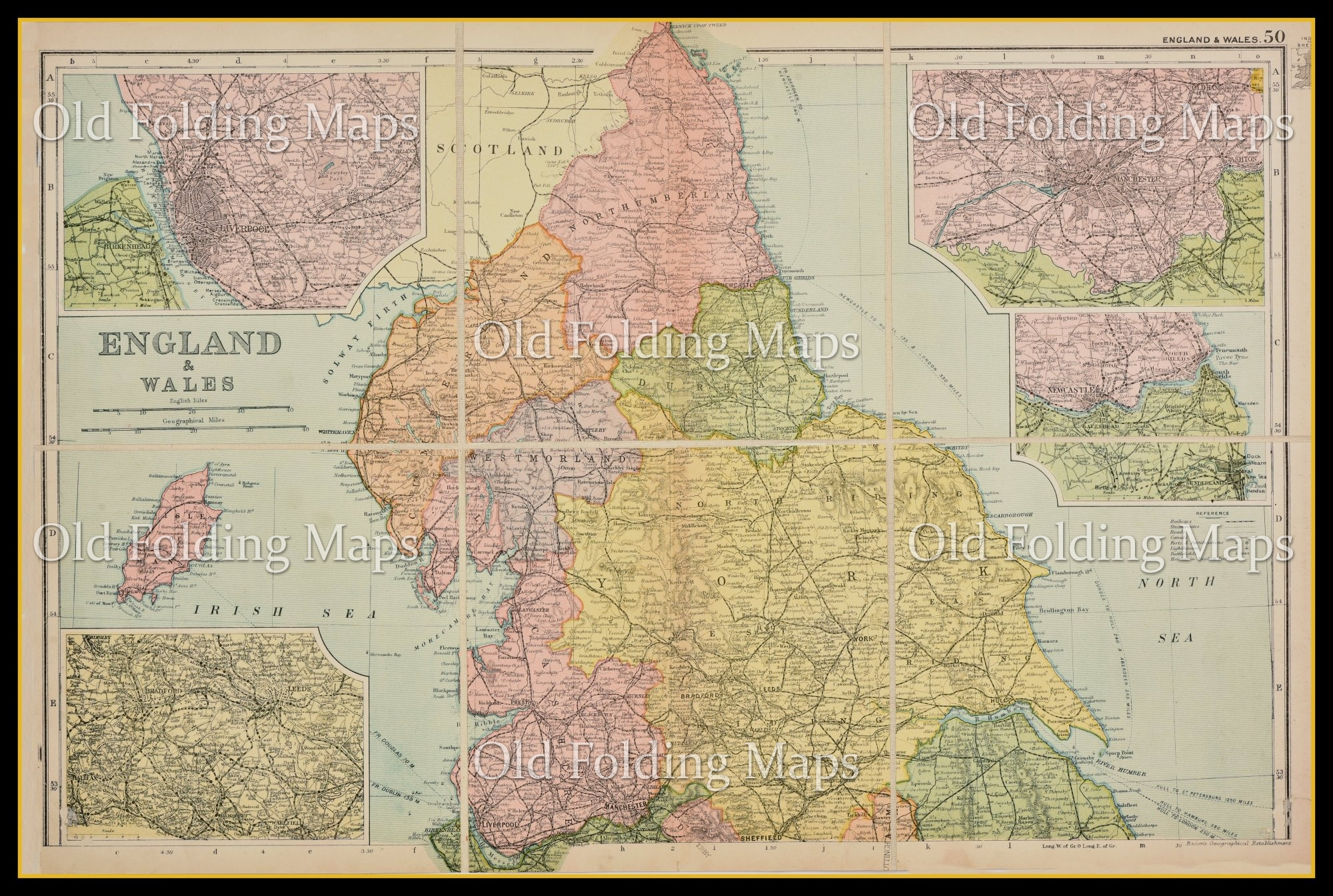 Map Of North England Uk.An Antique Map Of North England Circa 1897