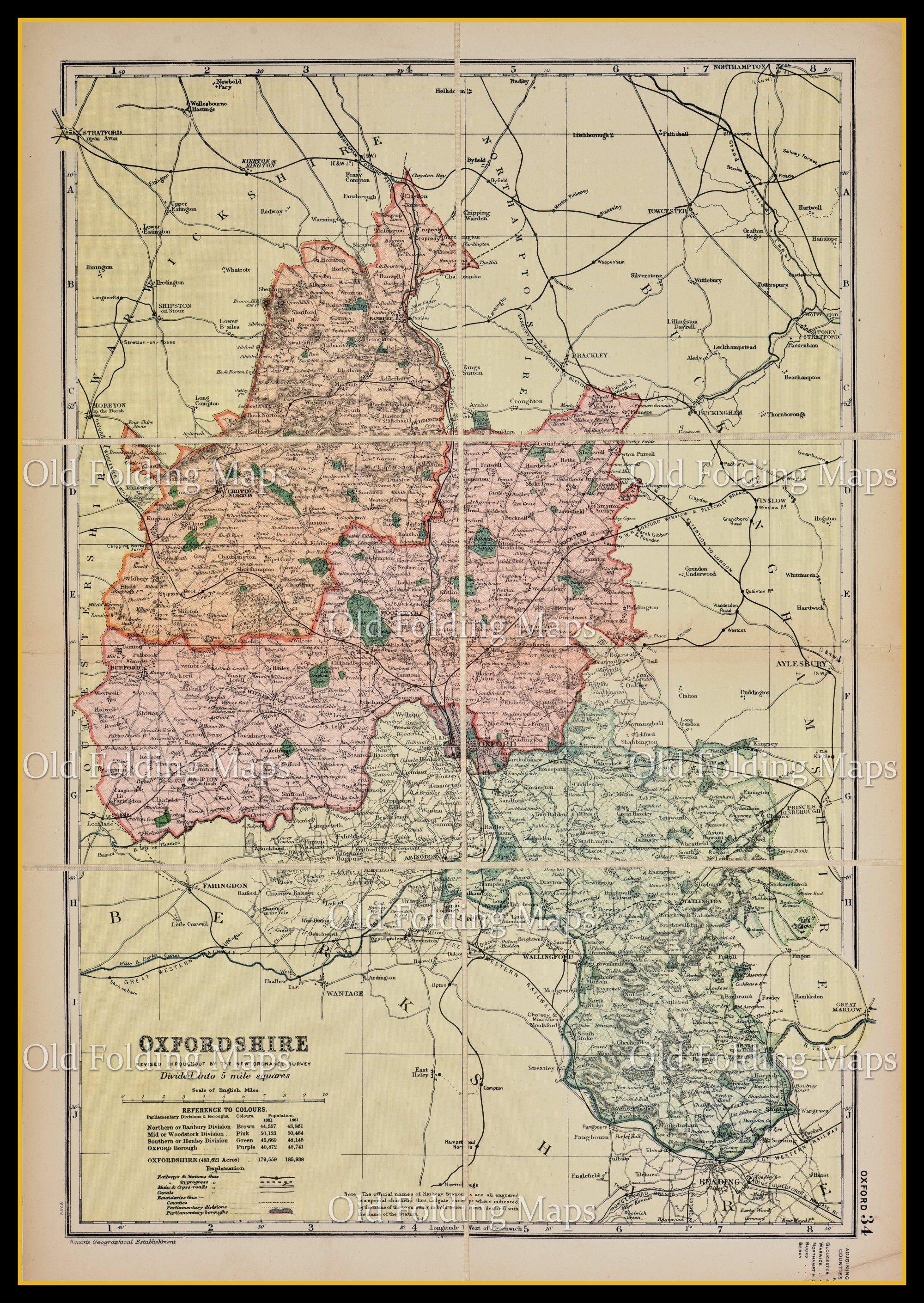 An Antique Map of Oxfordshire