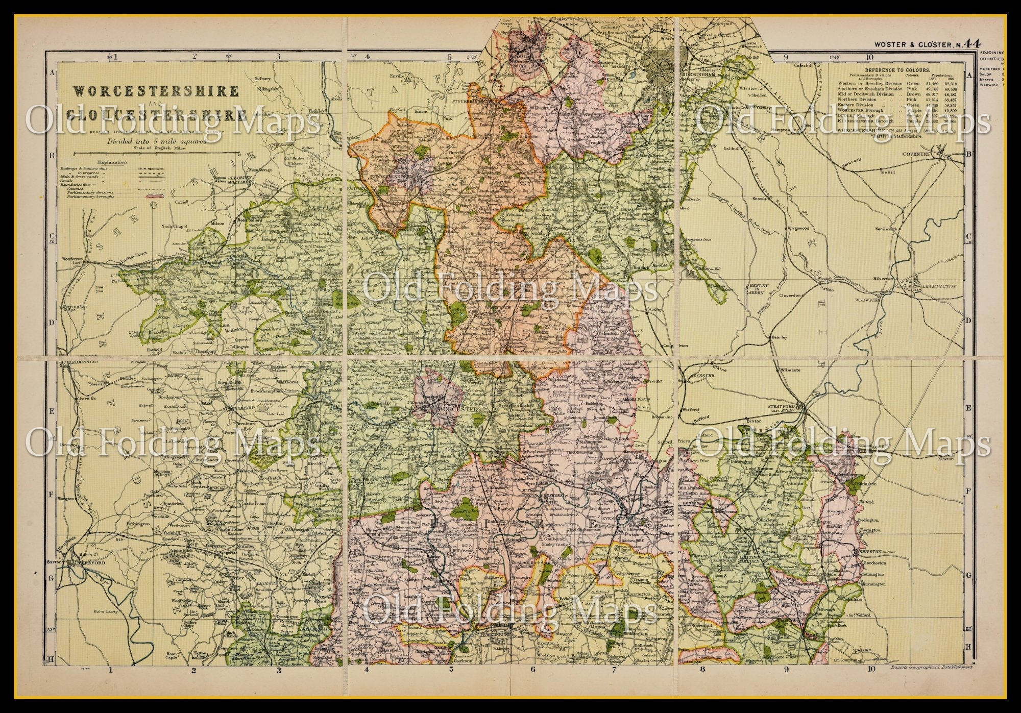 Antique County Map of Worcestershire and Gloucestershire circa 1897