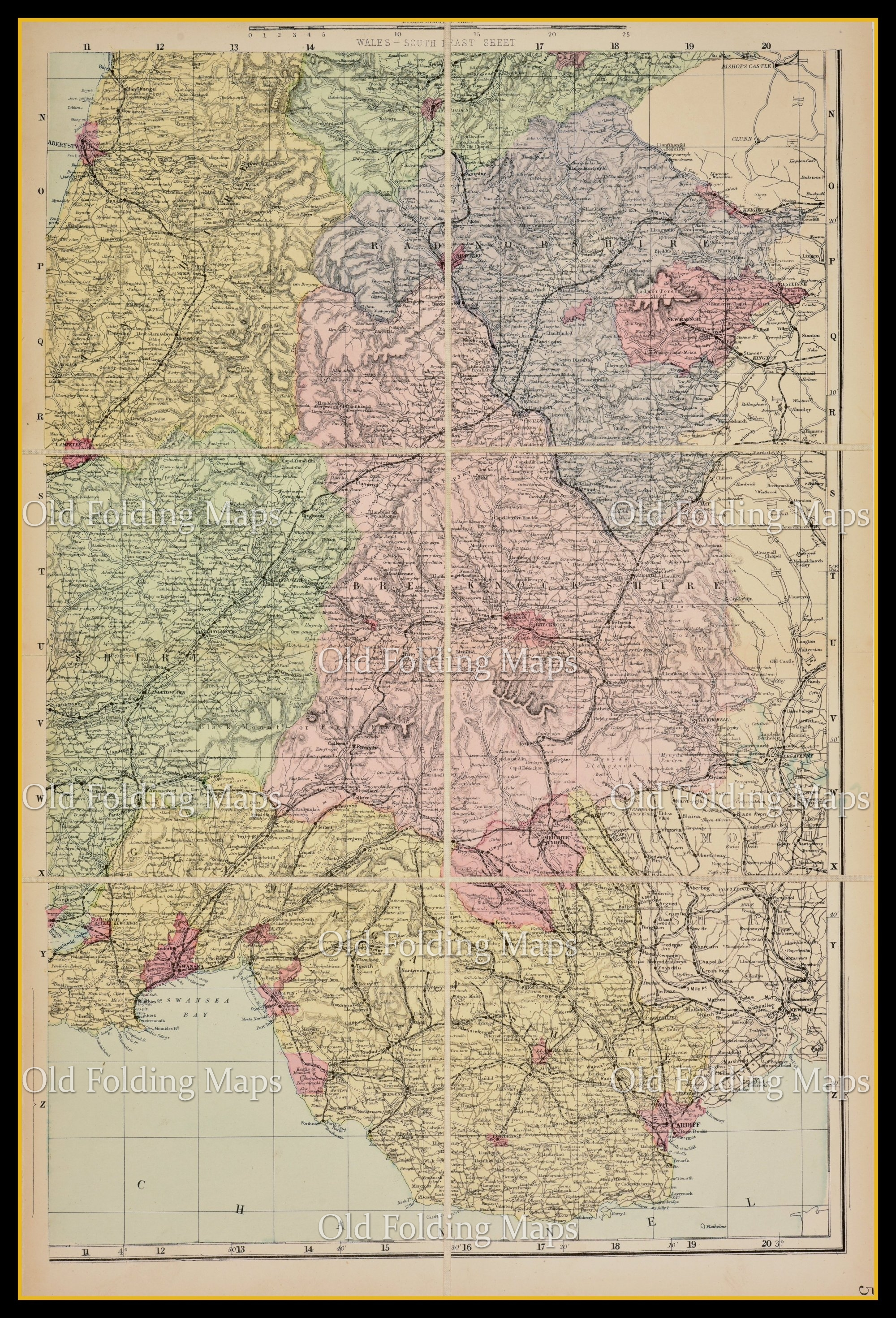 Old Map of Wales South East circa 1897