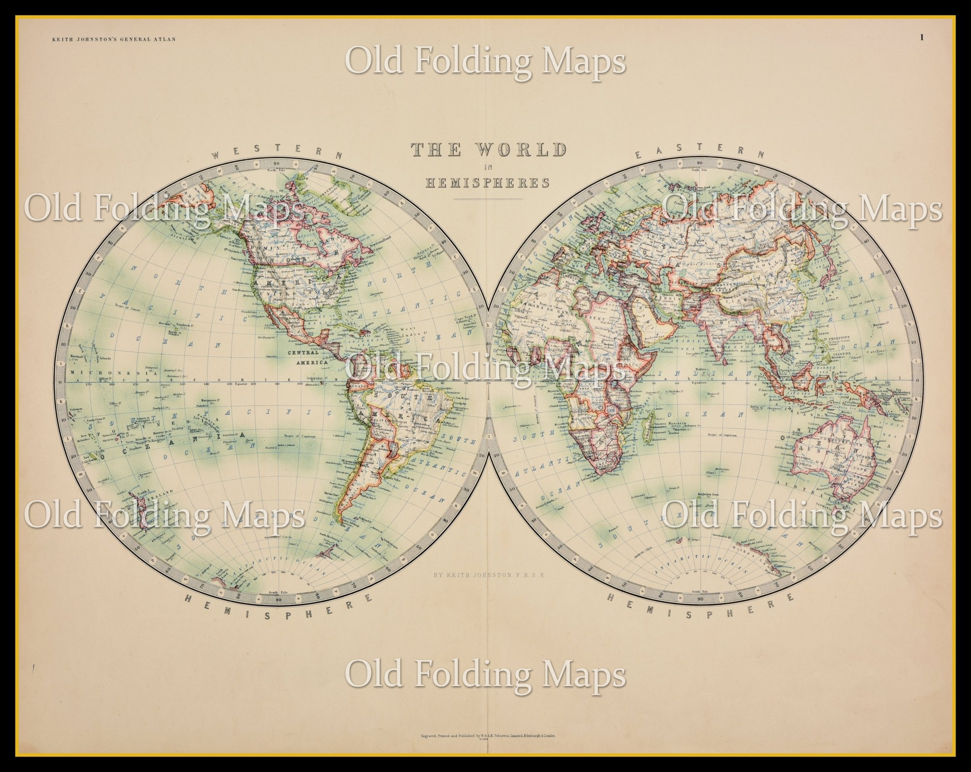 Old Map Of The World In Hemispheres Circa 1875
