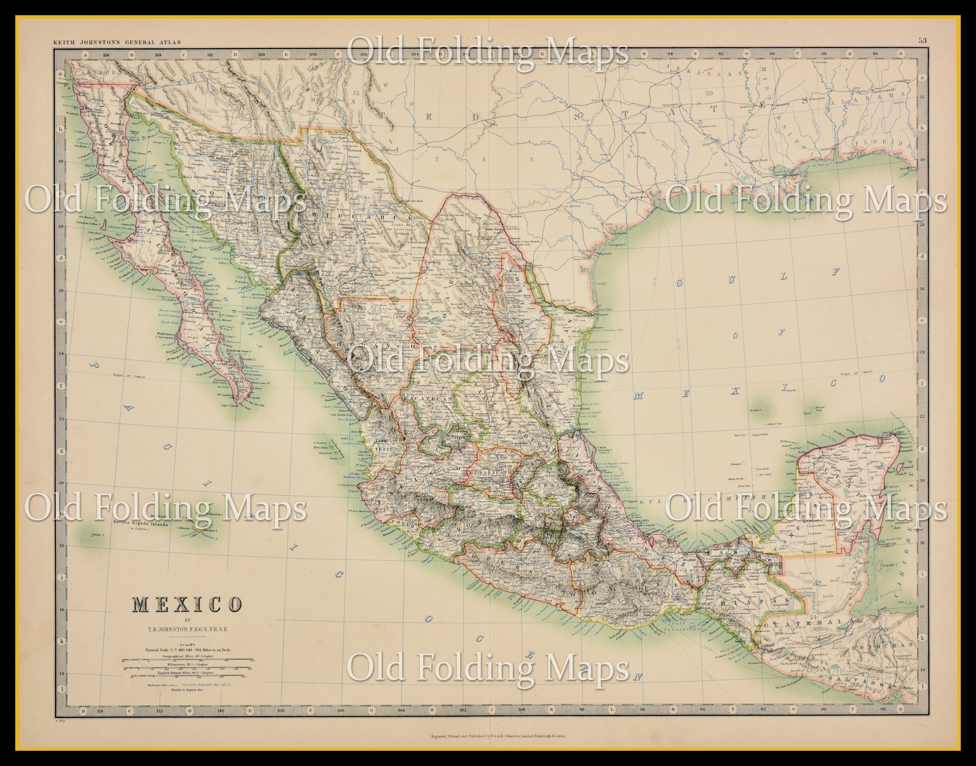 An Antique Map Of Mexico Circa 1875
