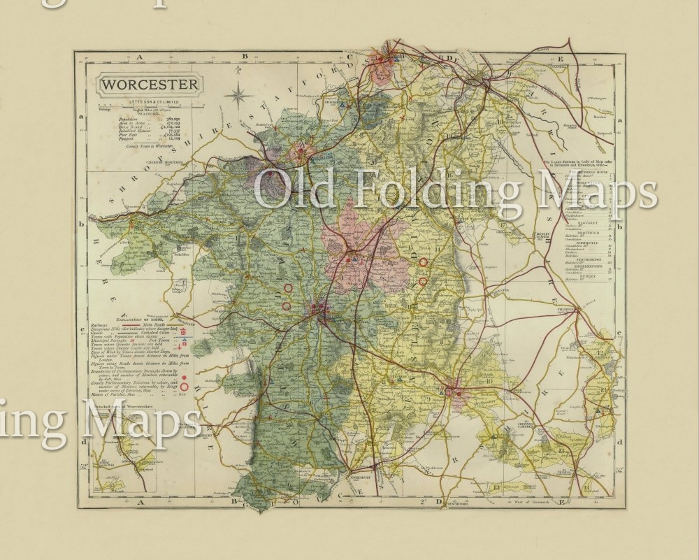 Antique County Map of Worcestershire circa 1884
