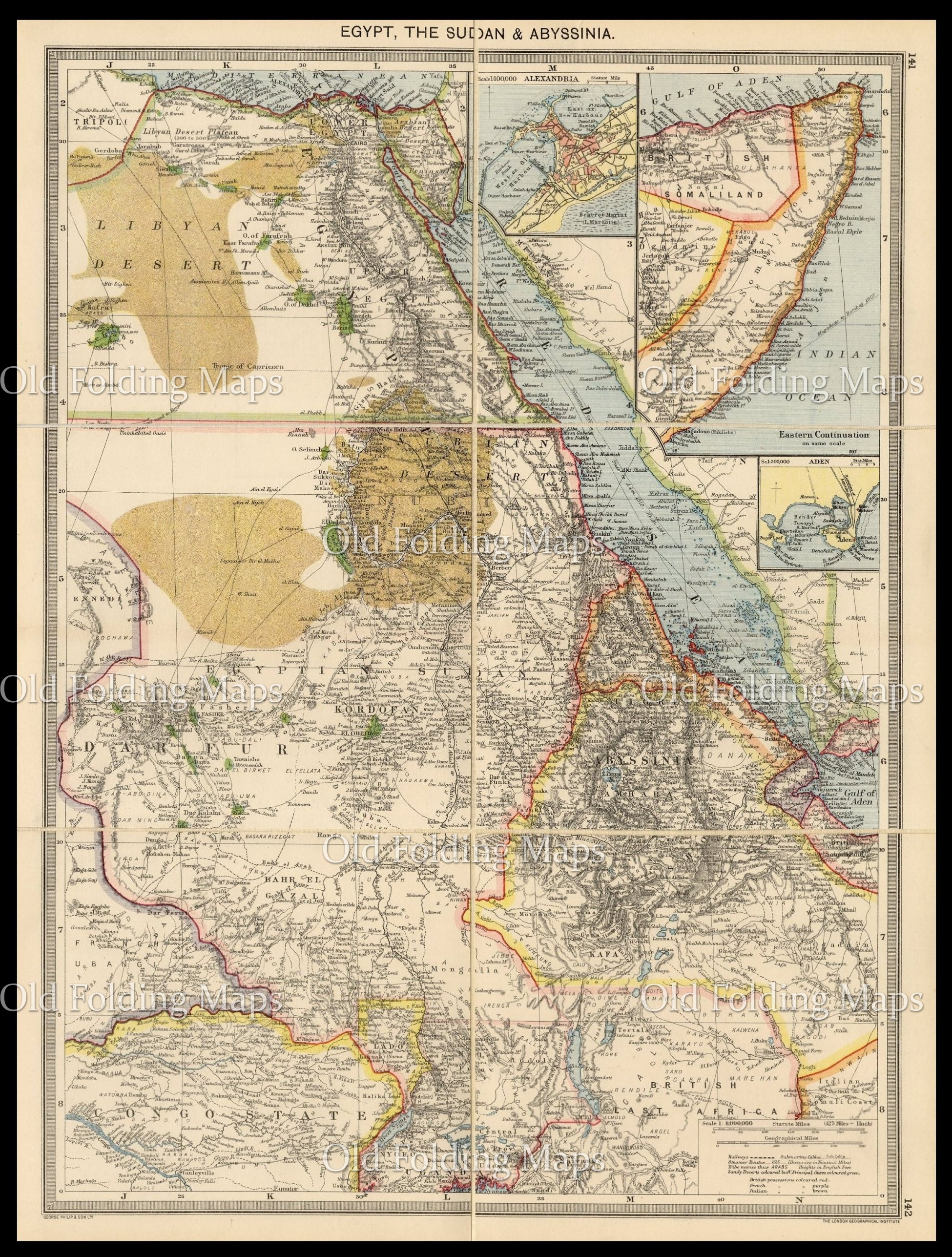 Map Of Uk 1900.Old Map Of Egypt The Sudan Abyssinia Circa 1900