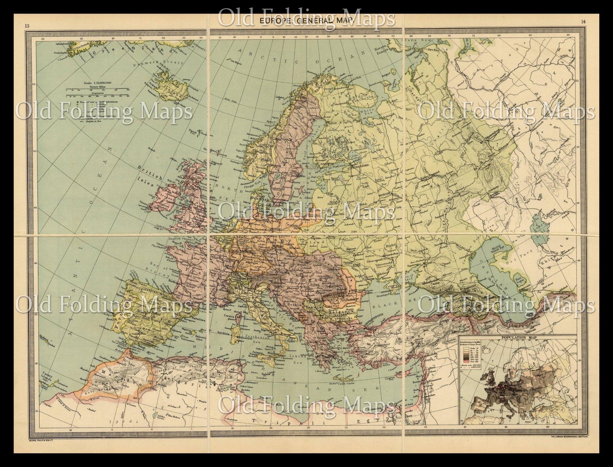 Old Map Of Europe Circa 1900