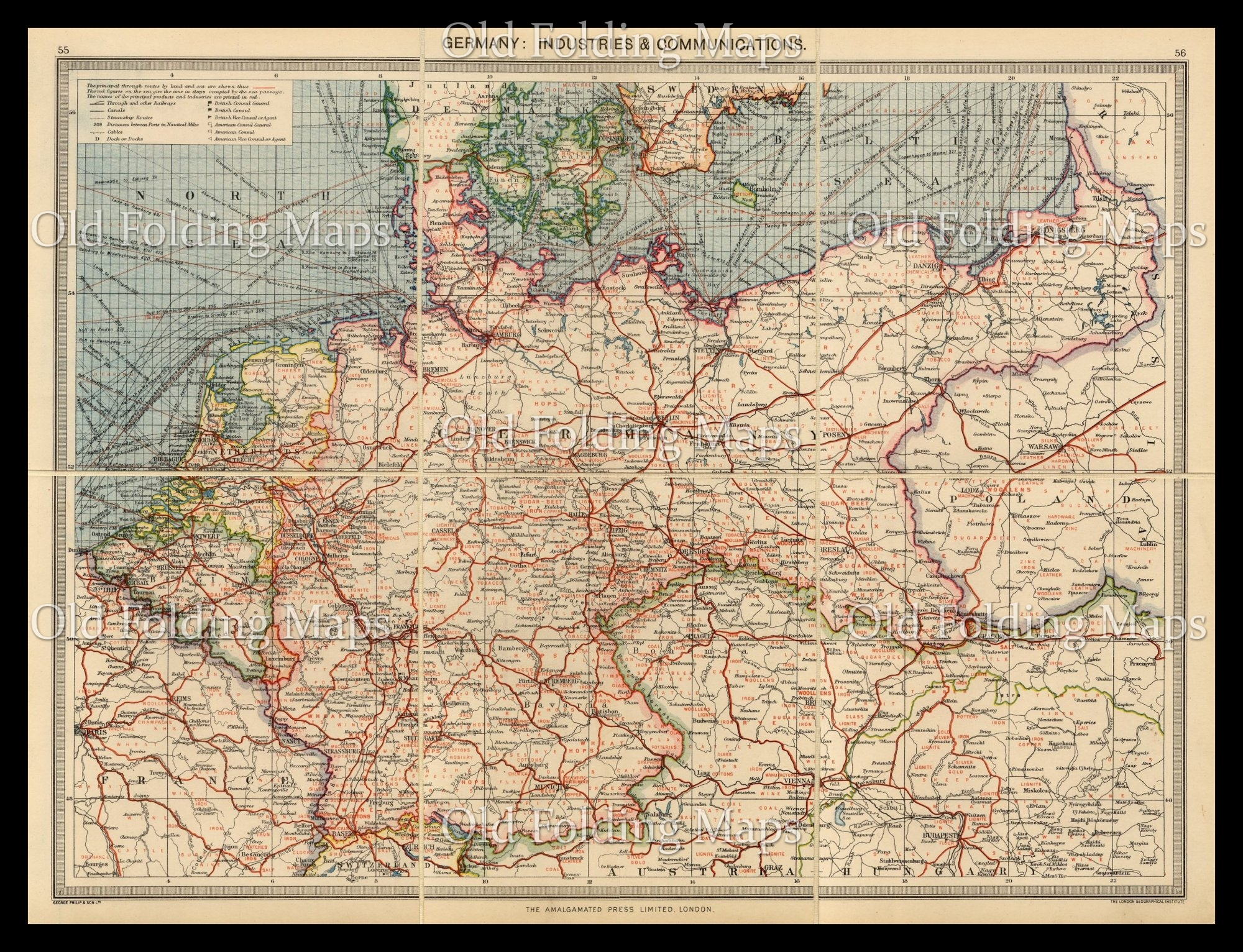 Map Of Old Germany.Old Map Of Germany Industries Communications Circa 1900