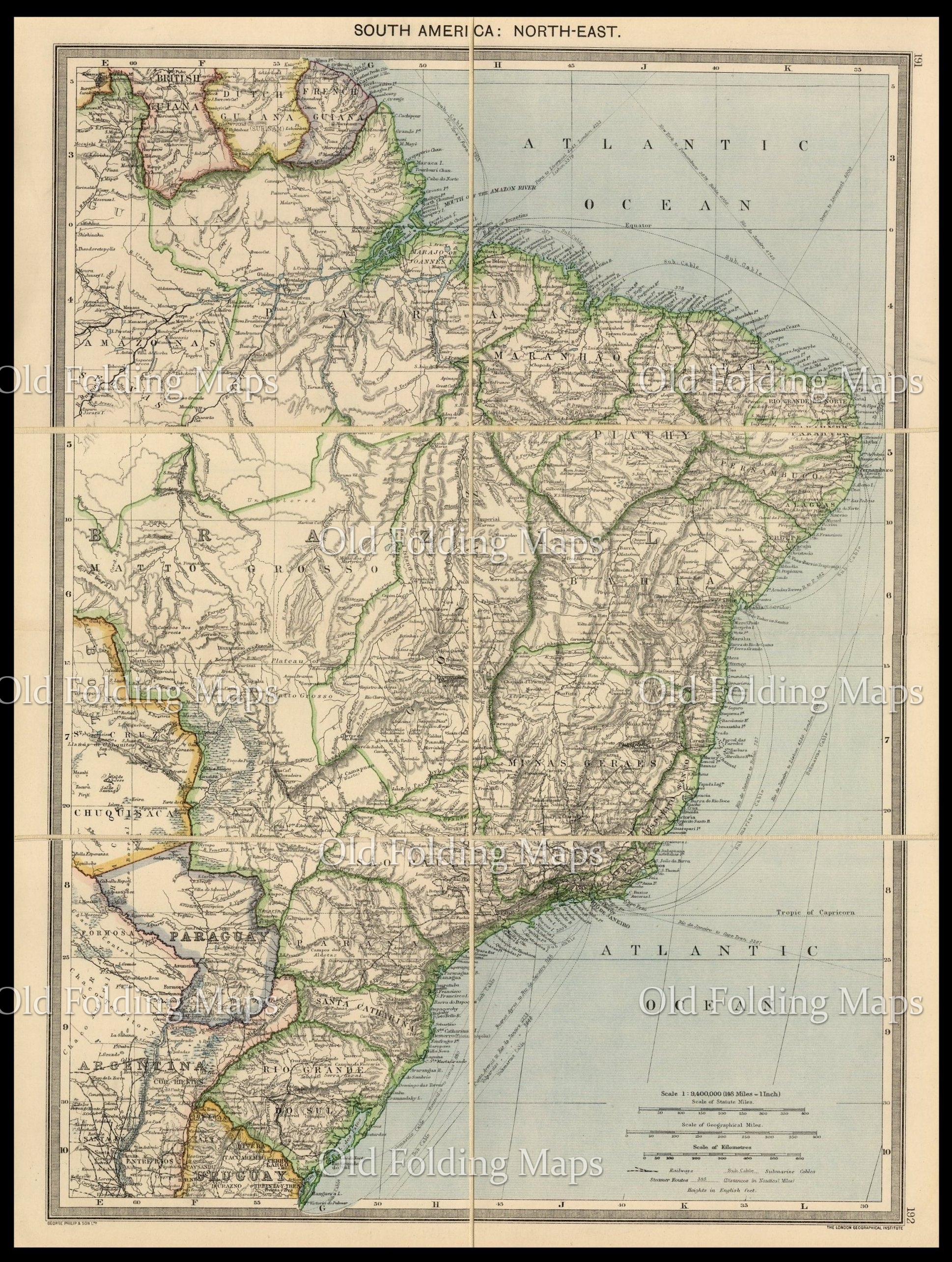 Old Map Of South America North East Circa 1900