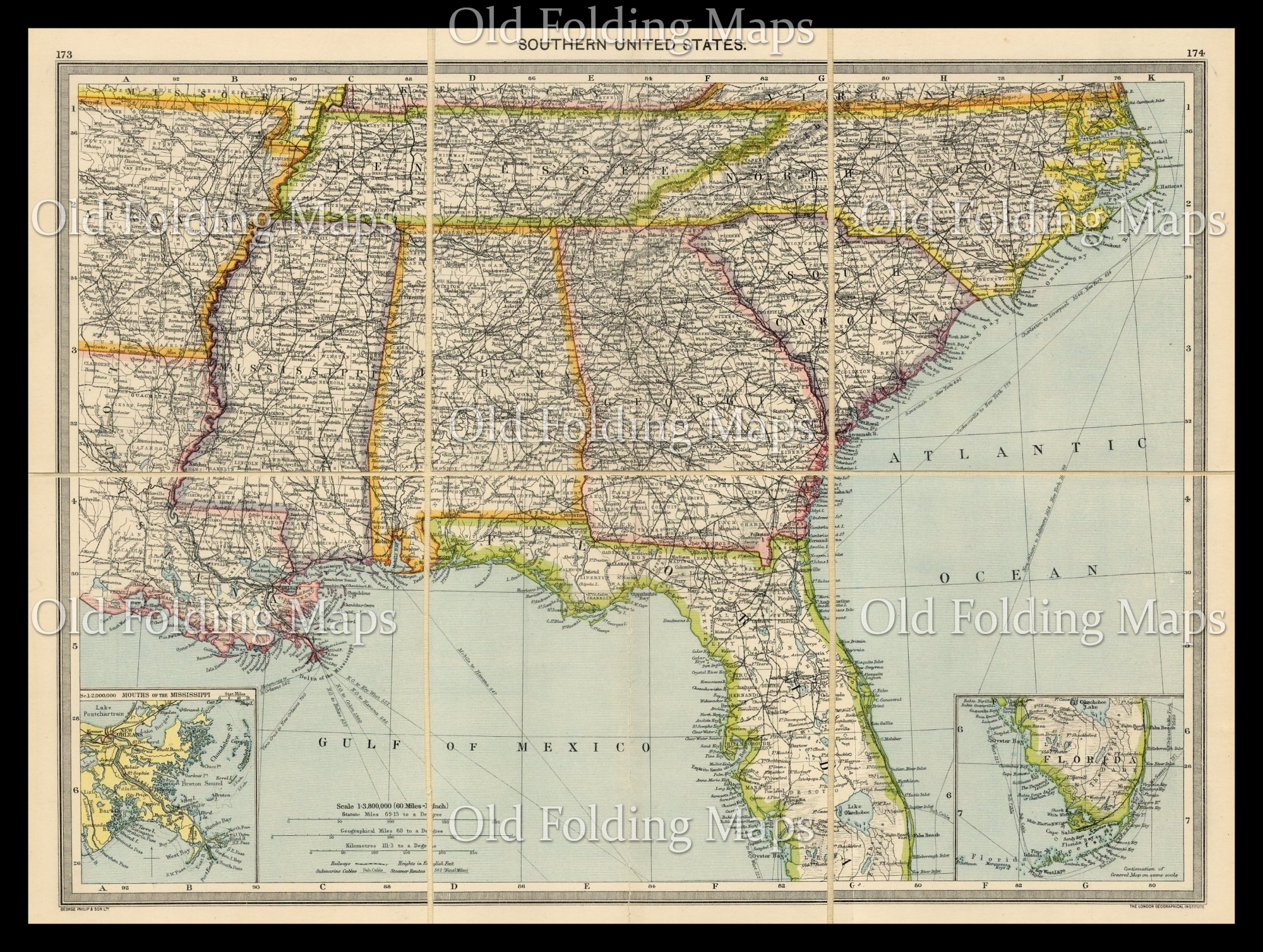 Old Map of the United States of America South circa 1900