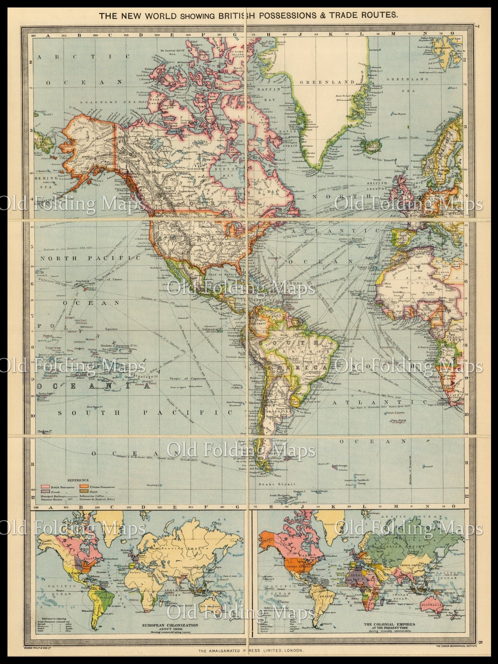 Old Map Of The New World Circa 1900