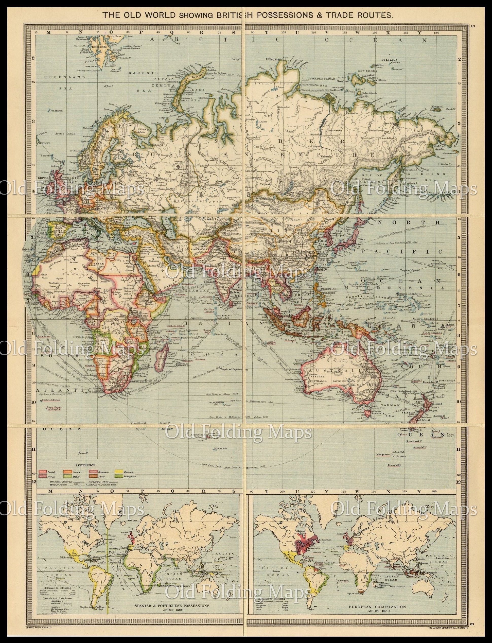 An Antique Map Of The Old World British Possessions Trade Routes