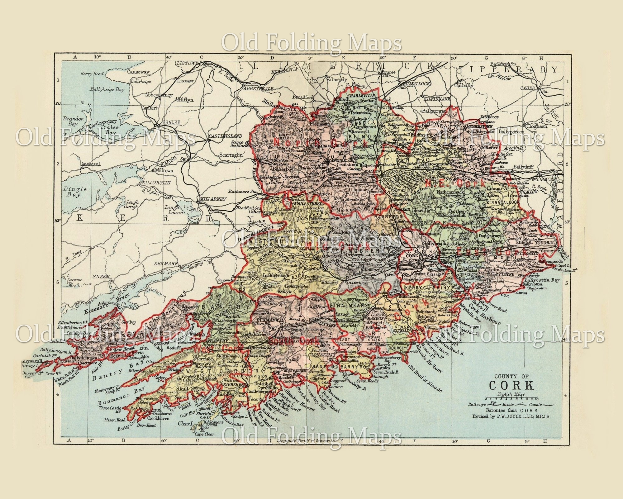 Map Of Cork County Ireland.Antique County Map Of Cork Ireland Circa 1884